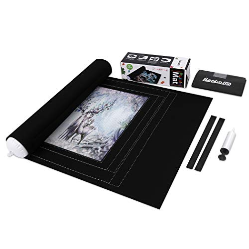 Becko Jigsaw Puzzle Storage Roll Mat with Unique Auxiliary Line Design for Up to 1500 Pieces Puzzles with Hand Pump & Drawstring Storage Bag
