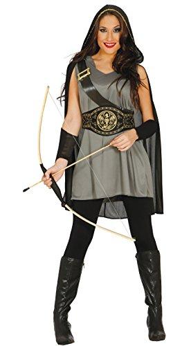 Guirca- Disfraz adulta arquera, Color carbn, Talla 38-40 (84572.0)