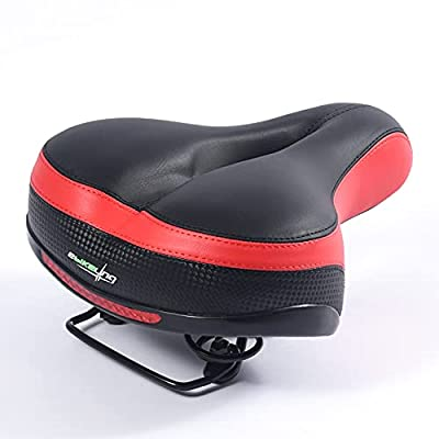 EBIKELING Comfortable Unisex Bike Seat Bicycle Saddle Best for Electric Bicycle (Black/Red)