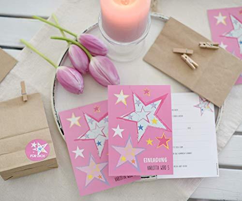 SET 6 STÜCK personalisierte Einladungen zum Kindergeburtstag mit 6 Aufkleber für Mitgebseltüten für Eure Gastgeschenke Sterne