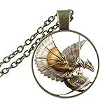 Collar de dragón steampunk, colgante de cristal de cabujón, joyería vintage para mujeres, hombres, niñas y niños suéter accesorio