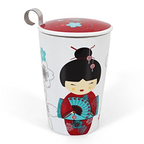 Teaeve EVE-GRED Mug double paroi avec infuseur Motif Little Geisha Rouge Porcelaine