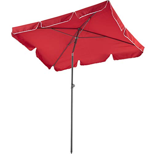 TecTake 800683 - Ombrellone in Alluminio, per Balconi e Terrazzi, Protezione UV 50+, Inclinabile e Regolabile, 200x125x235 cm - Disponibile in Diversi Colori (Rosso Vino | No. 403138)