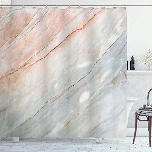 ABAKUHAUS Marmor Duschvorhang, Authentische Onyx-Kratzer, mit 12 Ringe Set Wasserdicht Stielvoll Modern Farbfest & Schimmel Resistent, 175x180 cm, Hellgrau Pfirsich
