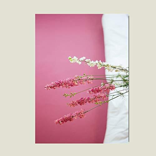 yaoxingfu Kein Rahmen Poster Nordisch Gelb Leinwand Rosa Blumen Poster Und Drucke Geometrie Modern Abstrakt Wandbilder Für Schlafzimmer Kunst Ungerahmt 50x70cm