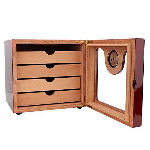 logozoee Cigar Box, 4 Drawer Luxurious Cedar Wood Cigar Box, Built-In...