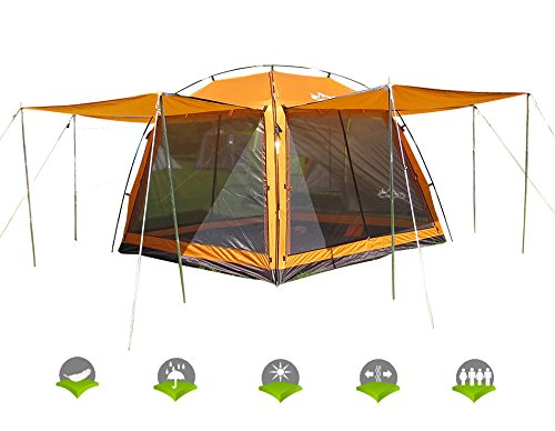 HASIKA All-Weather Diversified 8ft x 8ft Screened Canopy 4-Person Camping Tents(not Include Outside Poles