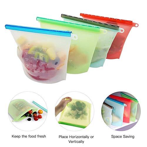 Tpocean Coque en silicone Nourriture Sac de rangement en silicone Réutilisable Sacs de nourriture fraîche Sac à nourriture pour fruits Légumes viande Sandwich soupe de lait Freeze, Vapeur (lot de 4)