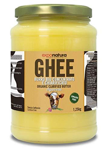 Ghee biologico 1250g - burro chiarificato secondo l'antica ricetta Ayurvedica - solo da latte di mucche al pascolo - senza lattosio estremamente digeribile - Exponatura