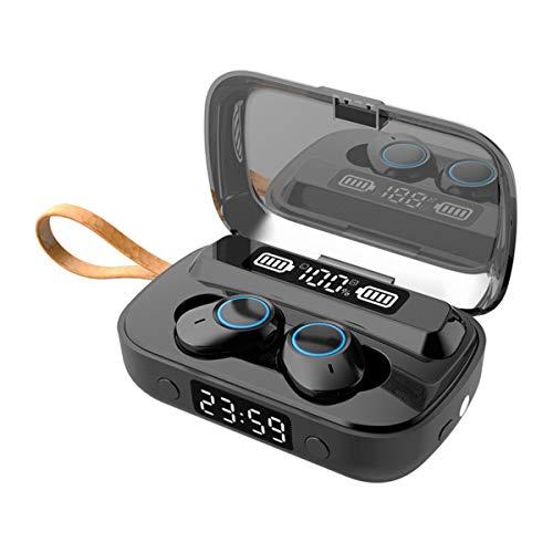 ist Präfekt für Streaming / Podcasting / Gaming NEUE TWS. Bluetooth 5.1 drahtloser Stereo-Bass-Kopfhörer binaalal LED Digitalanzeige wasserdichte Ohrhörer mit Taschenlampe Clock Power Bank