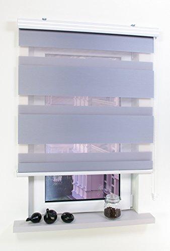 JalousieCrew Doppelrollo mit Kassette Farbe hell grau - Breite 60 bis 140 cm Länge 160 cm und 220 cm - Duo - Rollo (120 x 160 cm)