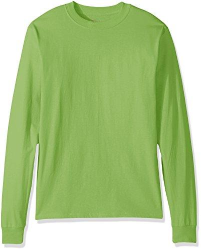 Hanes Men's Beefy Long Sleeve Shirt, Lime, XL
