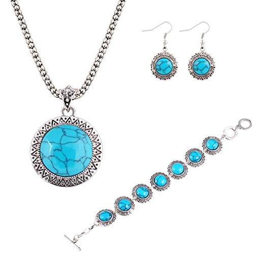YAZILIND Vintage Ronda Turquesa Retro patrón Colgante Pendientes Collar Pulsera joyería Conjuntos Mujeres Azul