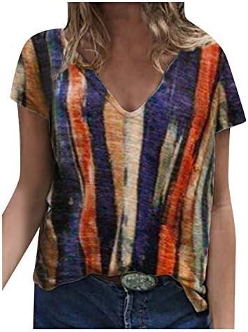 L9WEI Tshirt voor dames zomer bovenstuk Vhals mode print korte mouwen casual ronde hals shirt hemd blouse voor vrouwen tieners meisjes