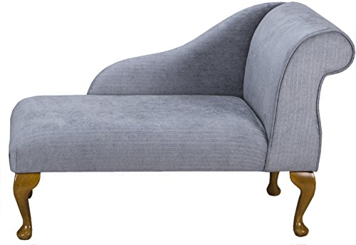 "41"" Small Classic Chaise Longue - Chair Seat - Topaz Slate Fabric - Right Facing With Queen Anne or Straight Tapered Legs"