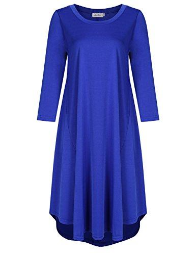 Women Scoop Neck 3/4 Sleeve Loose Fit Casual Swing Midi Dress?M-XXXL (XXL, Sapphire Blue)