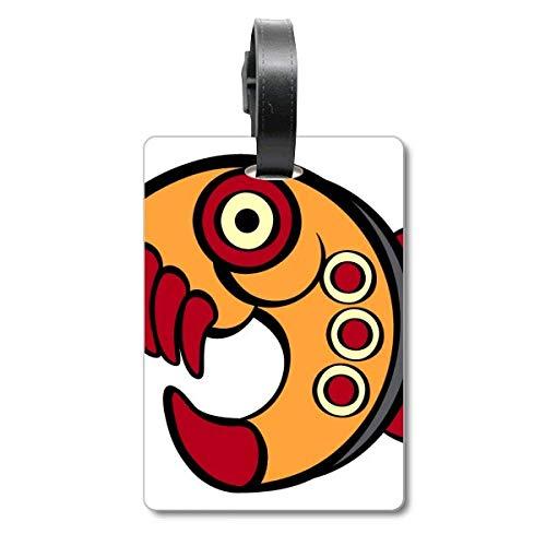 Etiqueta de identificación para Maleta de piraña de Dibujo, diseño Abstracto Indio