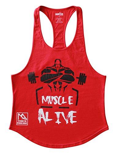 Alivebody Herren Bodybuilding Tank Top Fitness 2cm Strap Stringer Sportshirt Rot XL