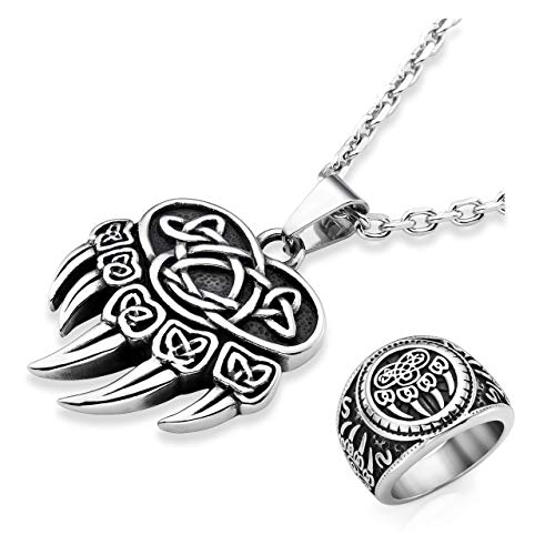 PiercingJ 2pcs Men's Stainless Steel Viking Norse Celtic Knot Pagan Slavic Nordic Wolf Bear Paw Claw Veles Symbol Pendant Necklace 24' Chain + Mens Signet Ring