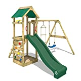 WICKEY Parque infantil de madera FreeFlyer con columpio y tobogán verde, Torre de escalada da exterior con arenero y escalera para niños
