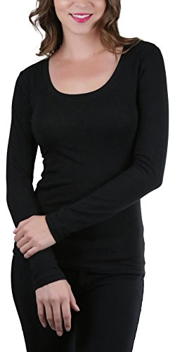 ToBeInStyle Women's Long Sleeve Scoop Neckline T-Shirt - Black - Large