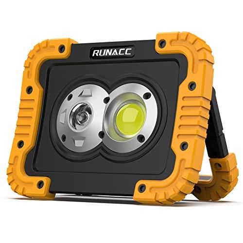 RUNACC Lampe de Travail LED Rechargeable avec Projecteur et Projecteur Anti-casse Lampe de Travail Portable pour Eclairage Chantier Voiture Réparation Camping Randonnée et Utilisation d'urgence…