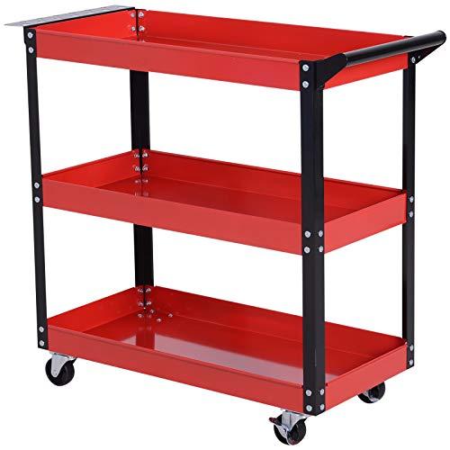 DURHAND Carrello Porta Utensili Attrezzi 3 Ripiani Multiuso per Officina Acciaio 83.5 × 35 × 75.5cm Rosso