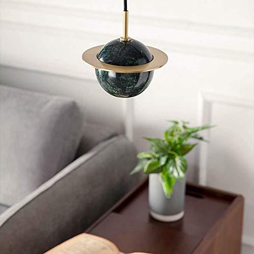 WEM Lámpara colgante led de globo de mármol, lámpara colgante nórdica creativa esférica, lámpara de techo rústica antigua con acabado en bronce, lámpara colgante decorativa pequeña, blanco, blanco fr