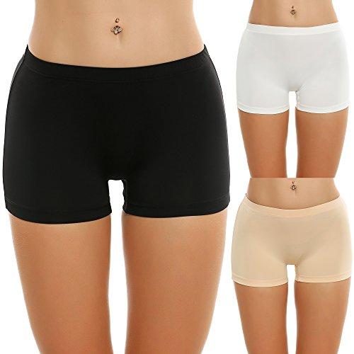 Ekouaer Unterhosen Radlerhose Boxershorts Damen Hoher Bund Baumwolle Shorts Panties Lange Unterwäche , Schwarz/ Weiß/ Nackt, M