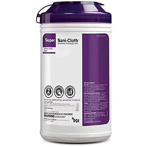 PDI Mfr#Q86984 Super SaniCloth Wipes XL 7.5' x 15' 65Canister by, White, 1 Count