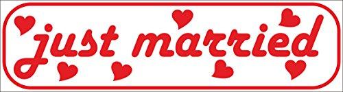 INDIGOS UG - Magnetschild just Married 45 x 12 cm - Magnetfolie für Auto/LKW/Truck/Baustelle/Firma