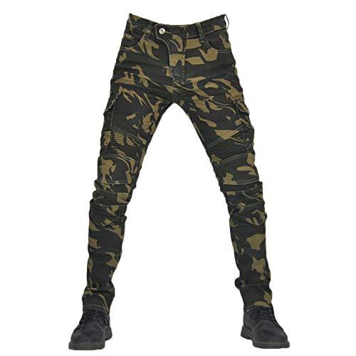 YOUCAI Hombre Motocicleta Pantalones Moto Pantalón Mezclilla Jeans con Protección Cargo Recto Pantalones de Motorista,Camuflaje,XS