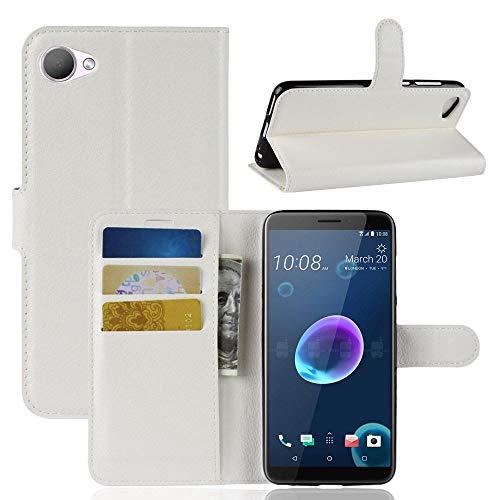 Guran® PU Ledertasche Hülle für HTC Desire 12 Smartphone Flip Cover Kartenfach Wallet und Stent-Funktions Handyhülle Business Style Etui - Weiß