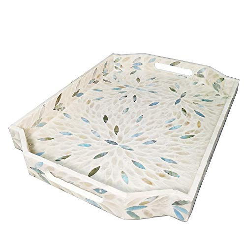 I-lan Mother of Pearl Inlay Serving Tray for Cocktail Ottoman,Coffee Table,Large Polygon Rustic Wooden Decorative Serving Tray for Breakfast,Snacks,Gadgets,Vintage Handcrafted Decorative Serving Tray