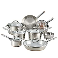 Set includes: 8 inches fry pan, 10.5 inches fry pan, 12 inches fry pan with lid, 1 quart saucepan with lid, 2 quart; saucepan with lid, 3 quart; saucepan with lid, 5 quart; Dutch oven with lid and stainless steel steamer Multi layer strength: Heavy g...