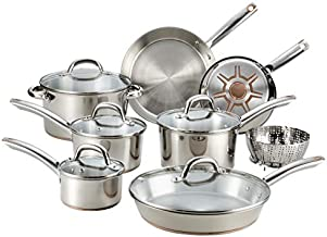 T-fal C836SD Ultimate Stainless Steel Copper Bottom 13 PC Cookware Set, Piece, Silver