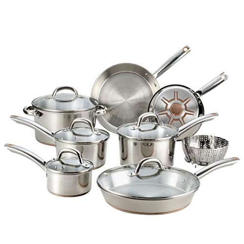 T-fal C836SD Ultimate Stainless Steel Copper Bottom 13 PC Cookware Set, Dishwasher Safe Pots...
