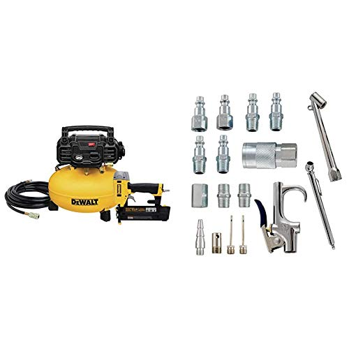 DEWALT Air Compressor Combo Kit with Brad Nailer (DWC1KIT-B) & Accessory Kit, 17 Piece Compressor Inflation Kit, with Blow Gun, Air Chucks, & Inflation Needles (Campbell Hausfeld MP284701AV)