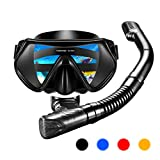 Snorkel Set,OMORC Newest One-piece Frame Lens,Impact Resistant Tempered Glass Diving Mask,Anti-Fog&Anti-Leak Dry Top Snorkel Set,Watertight and Food-Grade Silicone Skirt and Mouthpiece for Adult Youth