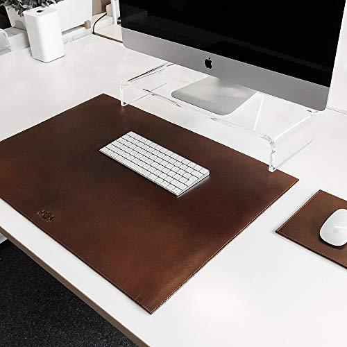 Schreibtisch-Unterlage & Mauspad Elliot echtes Leder handgefertigt Kombi Tischunterlage & Mouse-Padbraun XL Schreibunterlage 70 x 50 cm