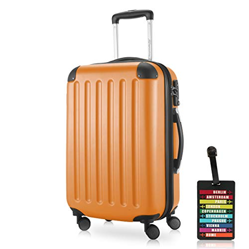 Hauptstadtkoffer - Spree, Carry on Hand Luggage Hard Shell Suitcase Approved for Baggage regulations of All Airlines, TSA, 55 cm, 42 Liter, Orange +Luggage tag
