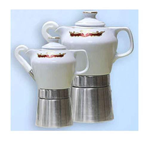 Sirge Cafetera Moka 4 tazas de porcelana, diseño de Final certificada Mary 55 y oro