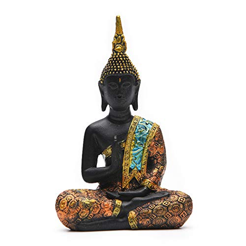 Resin Thai Sitting Buddha Asian Statue Chinese Feng Shui Sculpture Luck Wealth Sculpture Home Art Decor Gift Collection (Height6.3in)