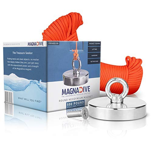 MAGNADIVE Fishing Magnet with Rope – 500 LBS Pulling Force Super Strong Neodymium Magnet – and Paracord 100 ft. Long.