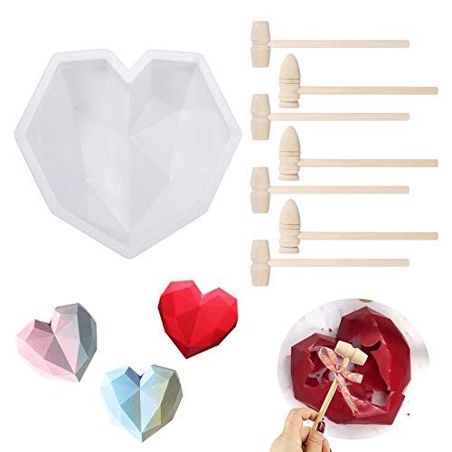 Gitua Molde de silicona en forma de corazón con mini martillo de madera, 3D, para mousse, chocolate, brownie, pastel de queso, gelatina, helado, fondant