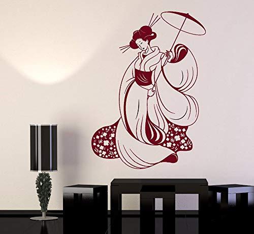 Geiqianjiumai mooie vrouw Kimono muur Decal Vinyl Applique meisje aangepaste muur Sticker muurschildering kunstenaar Home Decor