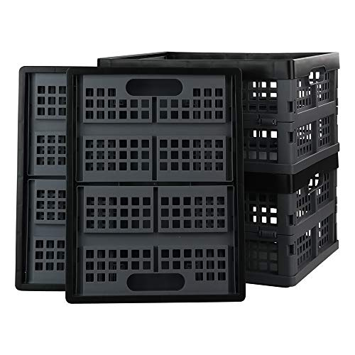 Bringer 4-Pack 14 L Plastic Collapsible Crates Folding Crates Storage Basket