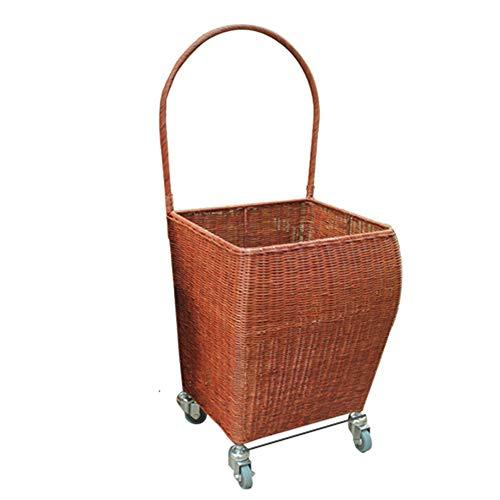 Bambus und Rattan gewebte Lebensmittel Einkaufswagen Trolley Car Home Einkaufswagen Light Trolley Old Portable Trailer Basket,withoutcover