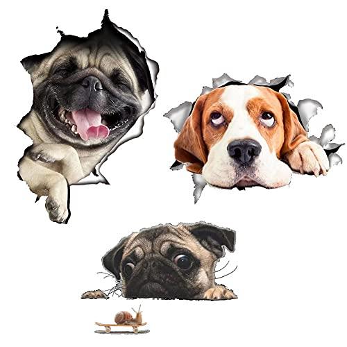 3 Stk Hund 3D Wandtattoo Kombination, Wandaufkleber 3D Aufkleber Wandsticker Kinderzimmer für Badezimmer Chlafzimmer, Heimdekoration (3 Größen)