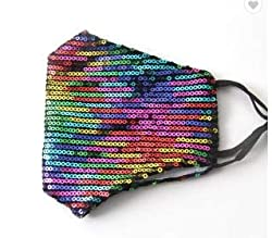 Rainbow Sequin Glitter Cotton Masks Filter Pocket and Filter Included